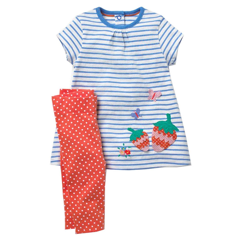 Gouache Girls Summer Clothes Sets Dress+Leggings Children Clothing Kids Set