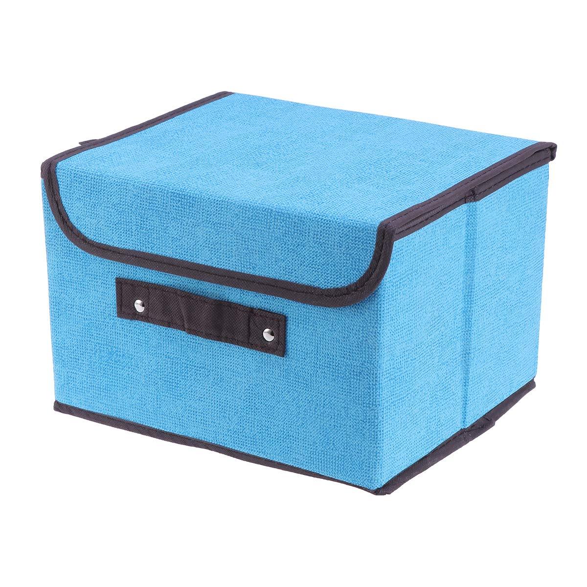 Yardwe Compartimiento de Almacenamiento de Ropa Plegable con Tapa, Tela no Tejida, contenedor de Almacenamiento, tamaño S, Azul