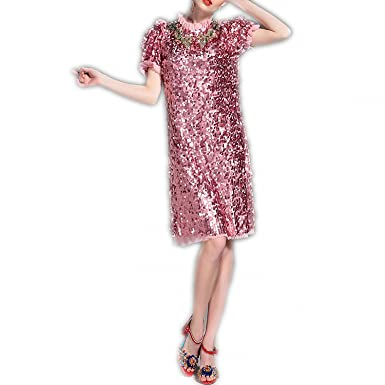 WalterTi Fashion Newest Runway Designer Dress Womens Short Sleeve Luxurious Bling Beading Sequined Dress vestido lentejuelas