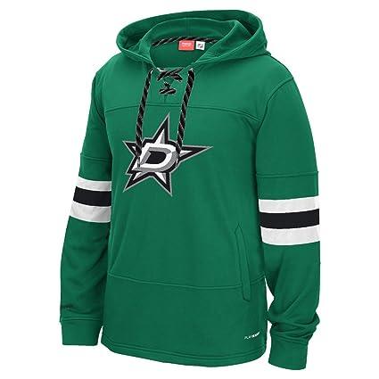Dallas Stars Reebok NHL  quot Team Face Off quot  Skate Lace Hooded  Sweatshirt 91527e122