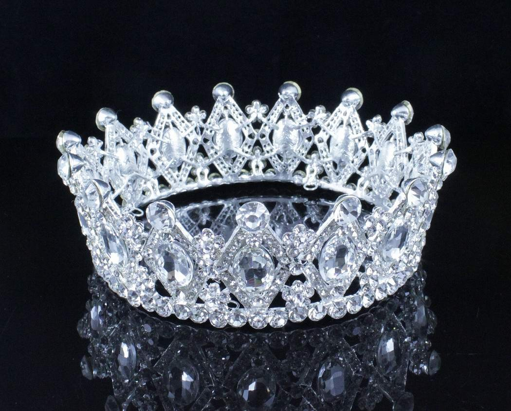 Janefashions Stunning Mid-size Full Round Crown White Clear Austrian Crystal Rhinestone Beauty Queen Princess Hair Tiara Jewelry Silver Parade Costume Headband Veil Headpiece Prom Pageant Bridal T1927