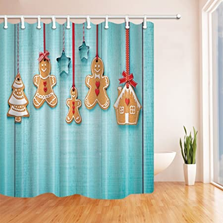 Gohebe Weihnachten Bad Vorhang Happy Lebkuchen Familie Hangen Auf