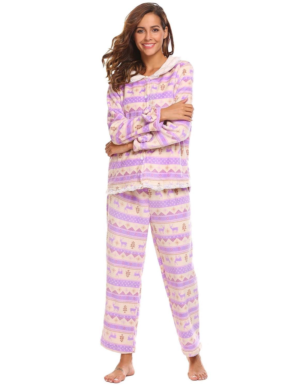 66290e2c7e64 Skylin Women Two Pieces Plush Christmas Holiday Pajama Set with Cute Print  S-XXL at Amazon Women s Clothing store
