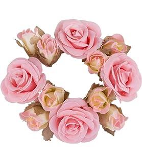 feste SIX SIX Haargummi Haarschmuck mit Rosen aus Stoff perfekt für den Dutt