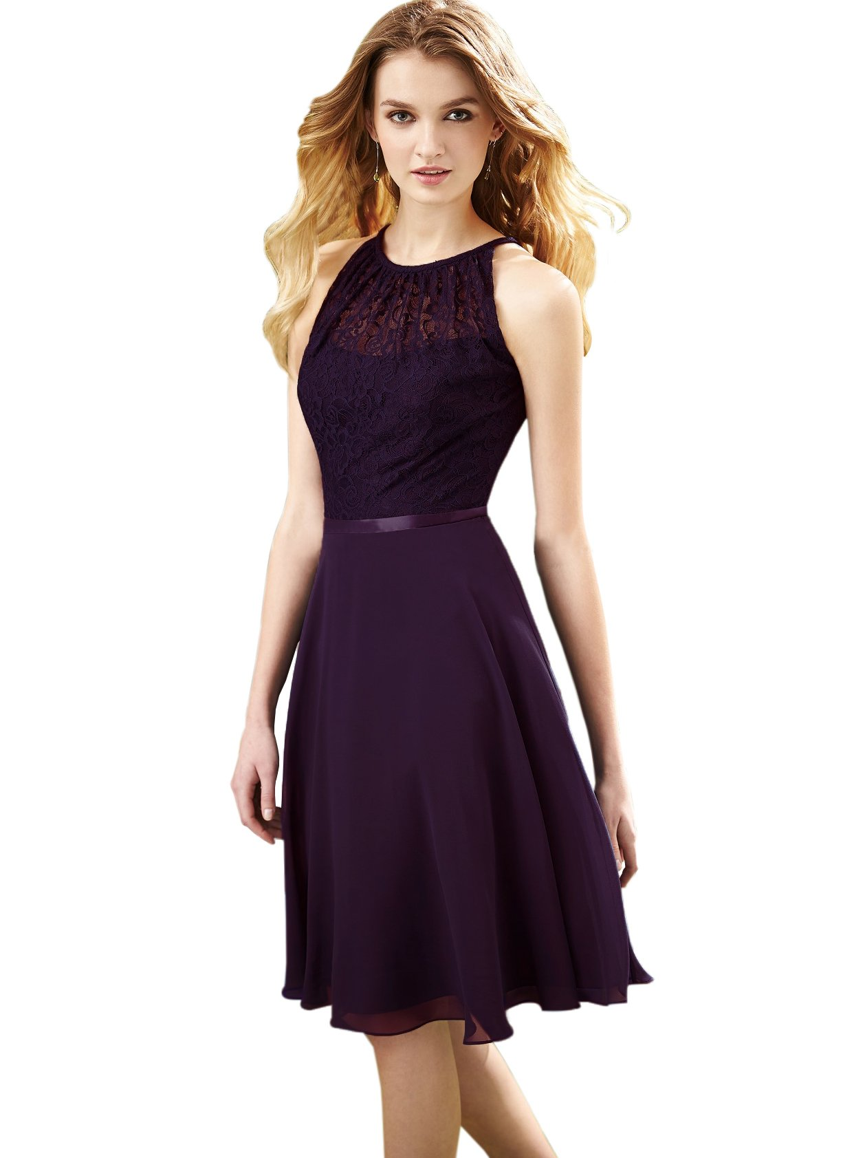 Zhongde Women S Scoop Neck Chiffon Bridesmaid Dress Knee Length Lace Formal Evening Gown Sash Eggplant Size 10