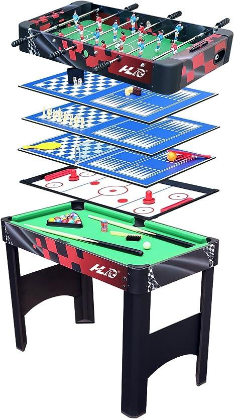 HLC® Futbolín Mesa Multijuegos 6 en 1 Mesa de Billar Ping Pong Air Hockey Ajedrez y Backgammon,El Regalo Ideal para la Familia y Amigos!: Amazon.es: Juguetes y juegos