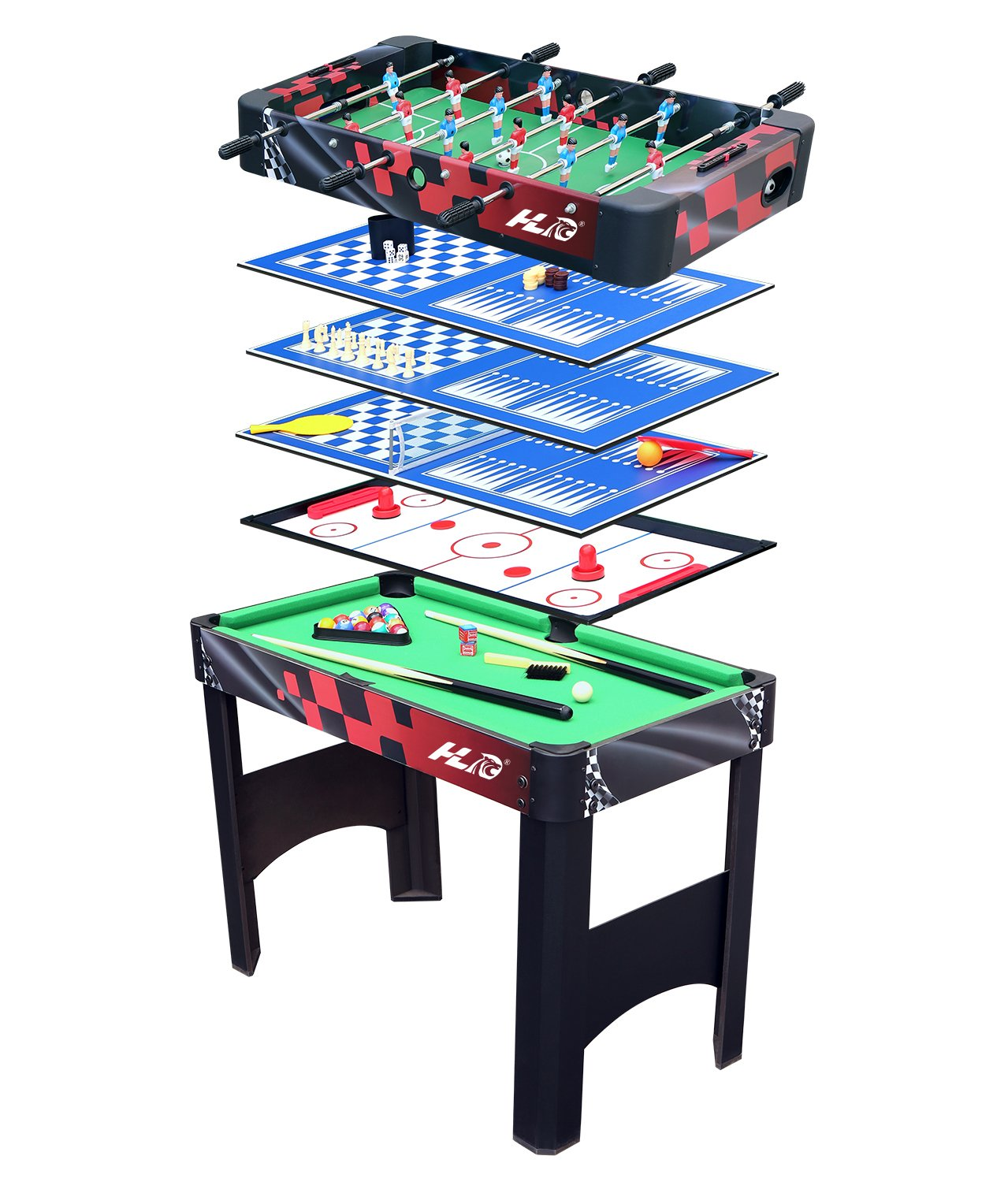 HLC 3FT 6 In 1 Multi Game Table Combo Table Includeds Pool/Snooker,  Football,Air Hockey, Table Tennis Table,Chess And Backgammon: Amazon.co.uk:  Sports U0026 ...