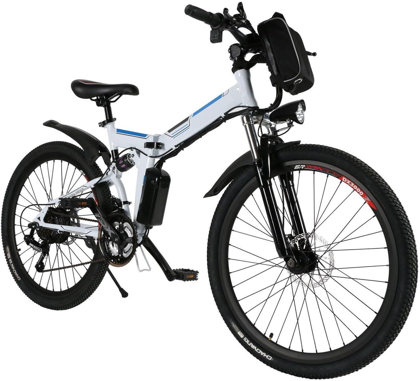 cooshional Bicicleta Eléctrica Plegable de Montaña con la Batería de Iones de Litio 36V Ruedas de 26 Pulgadas Color Blanco