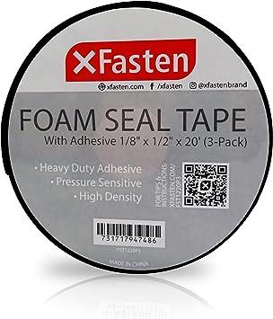 1//8Thick 1//2-Inch x 20-Foot 3-Pack Neoprene Insulation Foam Tape XFasten Black Foam Seal Tape High-Density Weather Strip Tape for Window Door Insulation Self-Adhesive