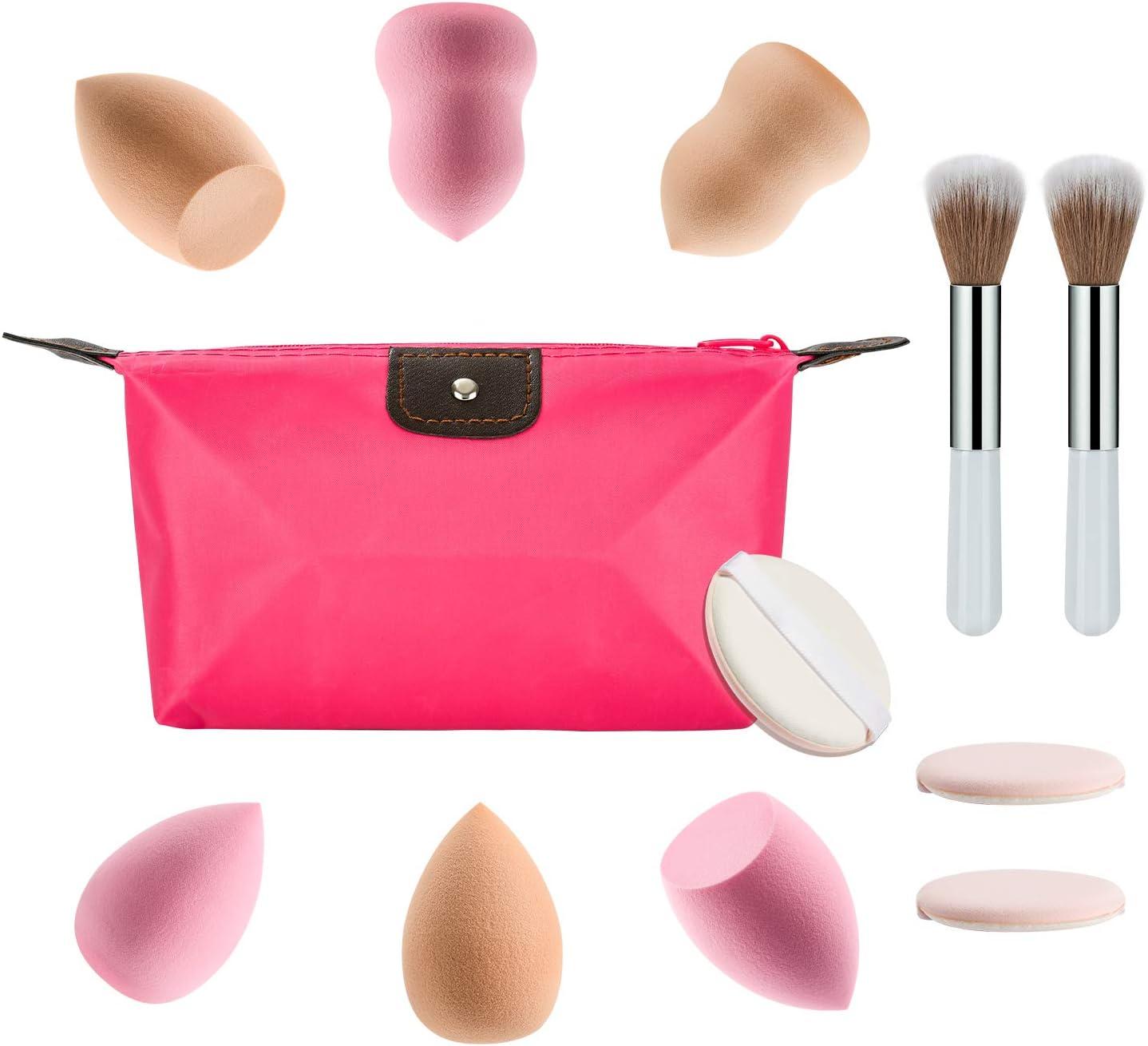 Cosmetics Beauty Sponge Blender, Makeup Egg Sponge, Powder Puffs, Cosmetic Brushes, Foundation Blending Applicator Soft Sponge Cosmetic Puff Tool,Professional Beauty Make up Set (12 Pcs)Colors 1