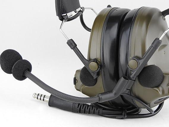 Auriculares de Diadema, de Tomtact, Modelo Airsoft Comtac II, con micrófono Boom, Radio peltor, de Color Verde Militar: Amazon.es: Deportes y aire libre
