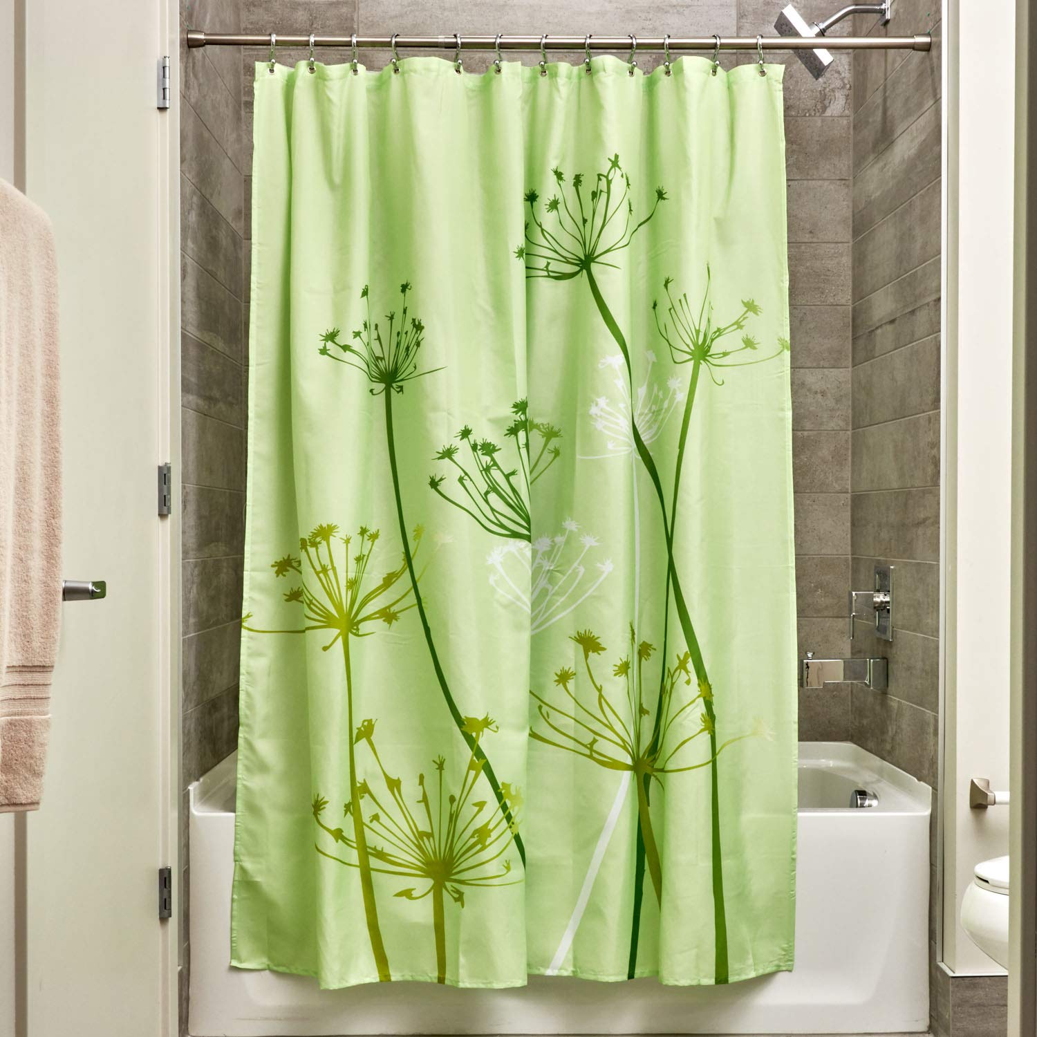 InterDesign Thistle Fabric Shower Curtain, 72x72-Inch, Gray and Purple 37229