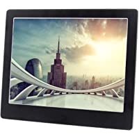 Digital Photo Frame 8 inch LED Display Electronic Pitcure Frame Video/Audio Player Support USB/SD/MS/MMC/3.5mm Audio Port Built-in Speaker Multi-language Metal Frame (Black)