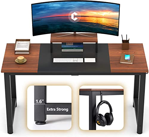 CubiCubi Computer Office Desk 63 , Study Writing Table, Modern Simple Style PC Desk with Splice Board, Black and Espresso