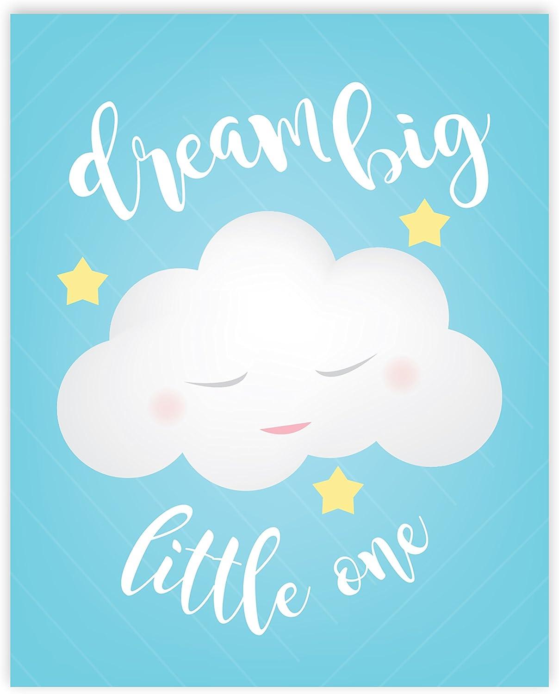 Amazon Com Dream Big Little One Décor Print In 11x14 Blue Clouds Print Dream Big Wall Sign Baby Nursery Wall Decor Kids Bedroom Decor Wall Art Kids Poster 11x14 Quote Artwork Dream Big
