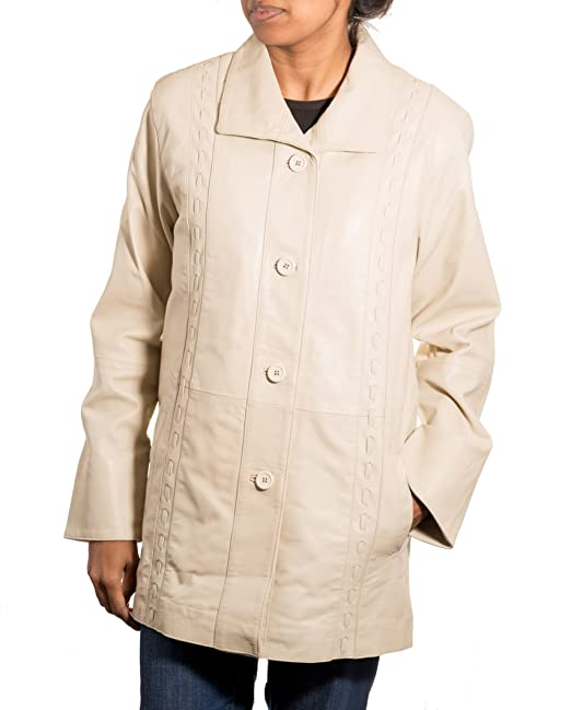 570267f5c71ba Delle donne crema classica 3 4 Bottone reale in pelle morbida pelle di  agnello cappotto lungo  Amazon.it  Abbigliamento