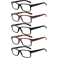 Eyekepper Vintag Mens Non-Magnification Glasses-5 Pack(3 Pairs Black and 2 Pairs Tortoise) Glasses for Men,+0.00…