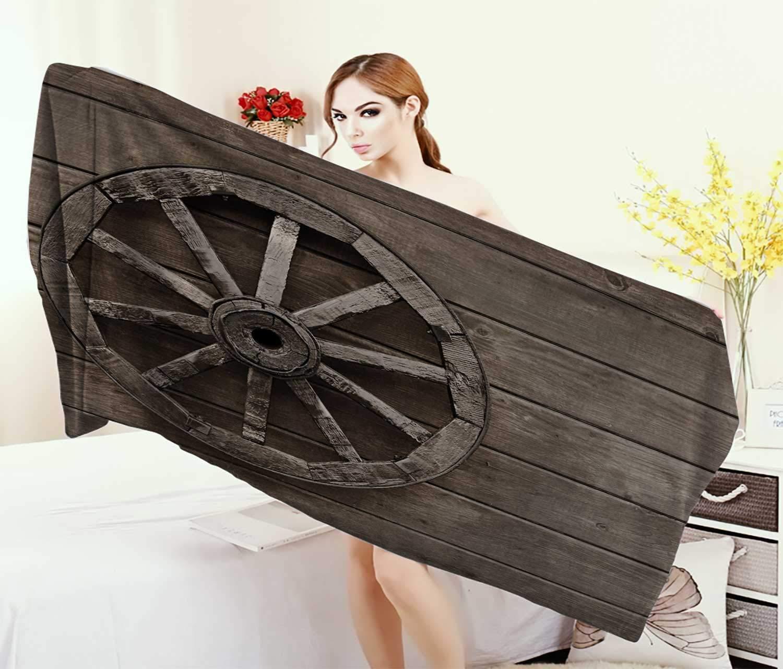 Anniutwo Barn Wood Wagon Wheel,Bath Towel,Antique Aged Carriage Vehicle Wheel on The Wall Barn Grunge Western,Customized Bath Towels,Umber Size: W 19.5'' x L 39.5''