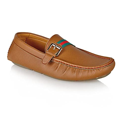 Private Brand - Mocasines de sintético para hombre, color marrón, talla 11 UK: Amazon.es: Zapatos y complementos