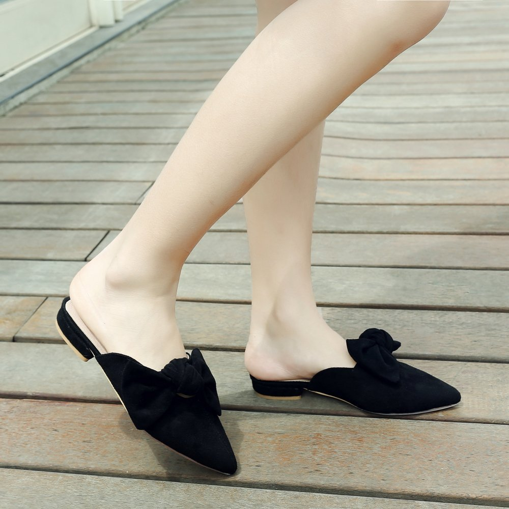 Cicime Women's Mules Bowknot Pointed Toe Backless Slip On Flat Loafers Slide Slippers Black Suede by Cicime (Image #3)