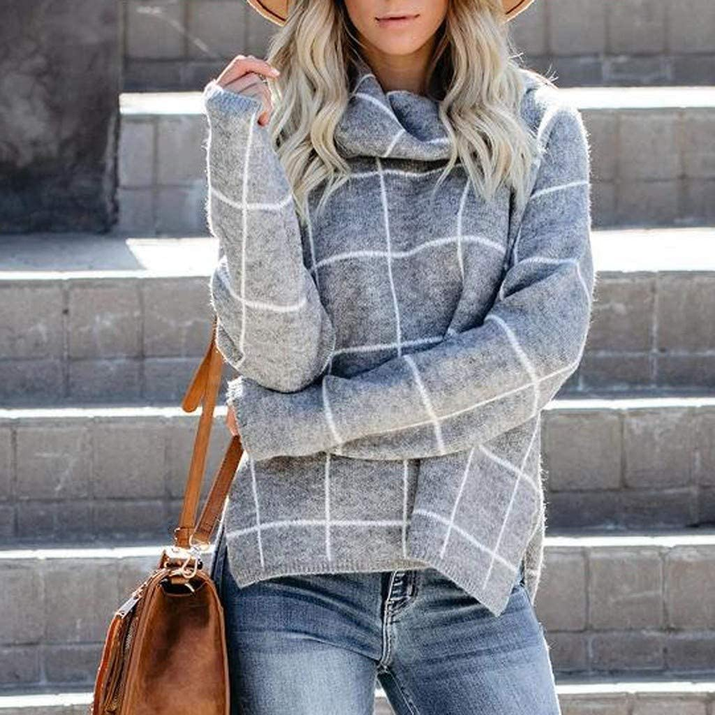 Ladiess Turtleneck Sweater Casual Long Sleeve Plaid Loose Chunky Knit Pullover UK Size 18 16 14 10 22 24 28 AMhomely Womens Blouses and Shirts Sale Autumn Winter Plus Size Tops