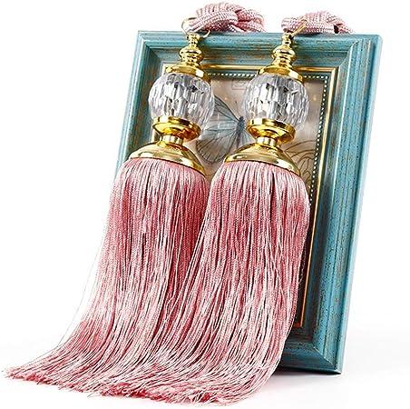 h/ôtel Paire dembrasses de rideaux /él/égantes de luxe avec perles prismes boules et pompons pour d/écoration de maison 1 paire free size fen/être blanc
