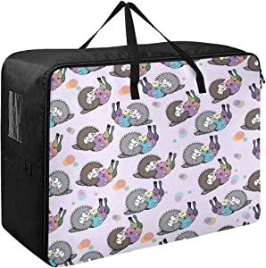 Godfery Gabriel Large Storage Bag Space Saving Cute Hedgehog Cartoon Bowling Fun Laundry Bag Comforter Quilt Bedspread Pillow Luggage Moving Tote Garment Closet Storage Organizer Space Saver