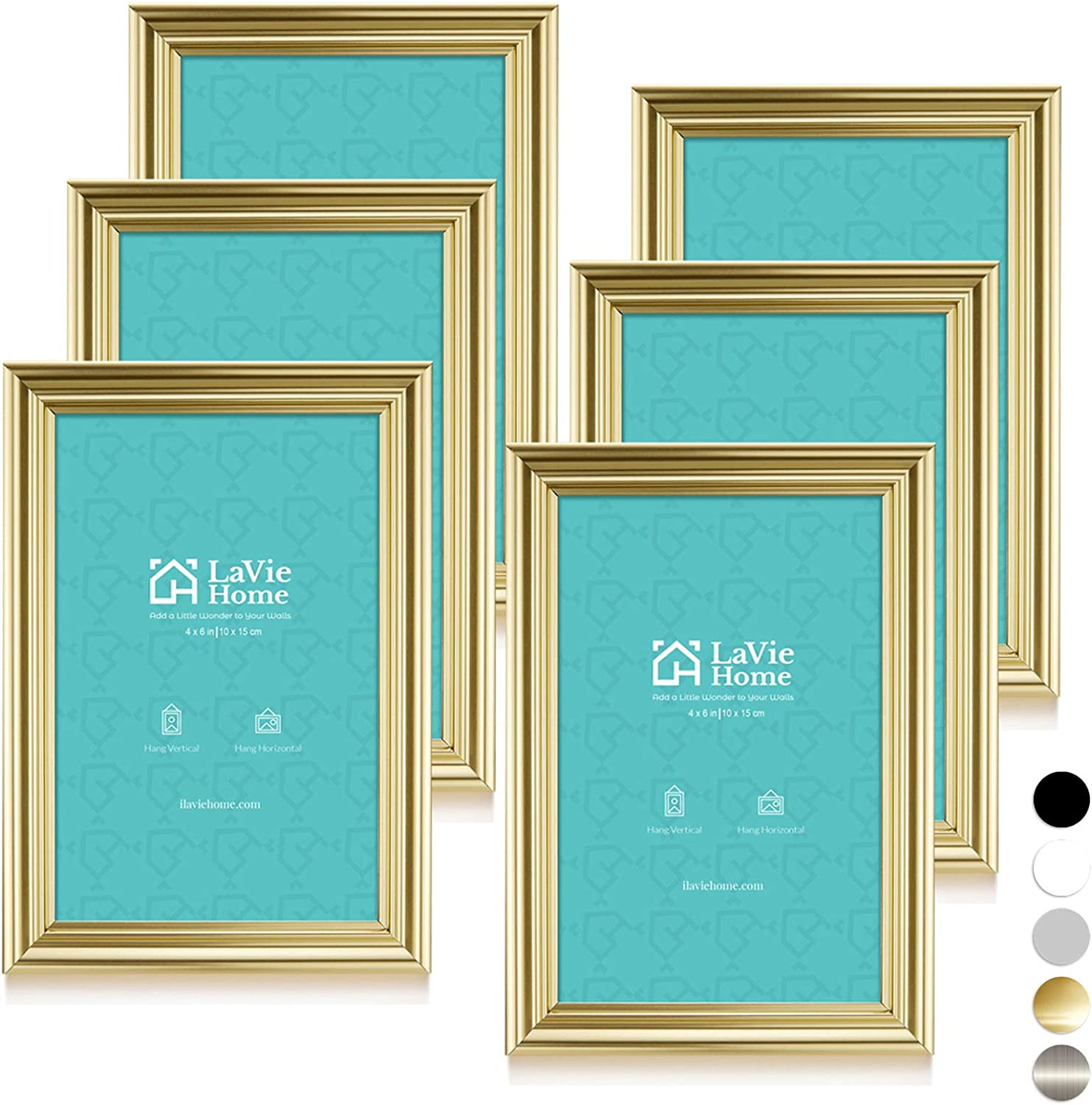 LaVie Home 4x6 Picture Frames(6 Pack, Gold) Single Photo Frame with High Definition Glass for Wall Mount & Table Top Display