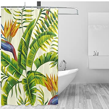 tropical theme home decor shower curtain set by alazahawaii natural palm tree leaves floral