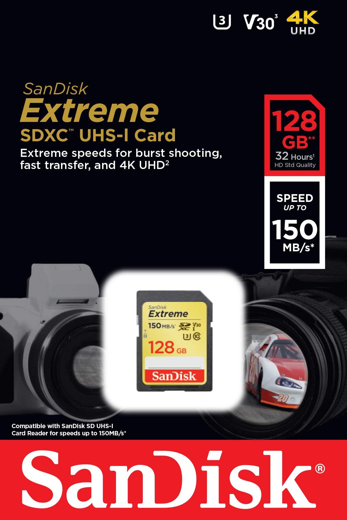 SanDisk 128GB Extreme SDXC UHS-I Card - C10, U3, V30, 4K UHD, SD Card - SDSDXV5-128G-GNCIN by SanDisk (Image #4)