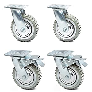 6 Inches Heavy Duty Rubber Caster Wheels Anti-Skid Swivel Casters Wheels with 360 Degree for Set of 4 (2 with Brakes& 2 Without)