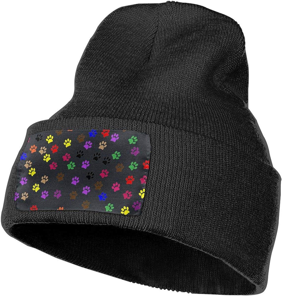 100/% Acrylic Acid Mas Beanie Hat Ruin Dog Paw Prints Fashion Knitting Hat for Men Women