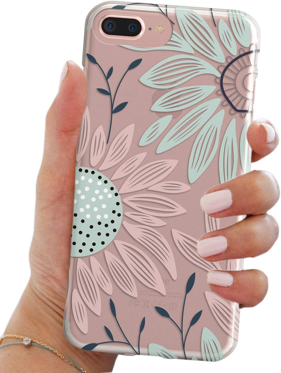 TRFAEE Stunning Spring Floral Blooms Flowers HD Clear Rubber Hand Drawing Anti-Scratch Good Vibe Case for iPhone 6 / 6S Case-Sunflower Daisy Pattern TPU Case Cover