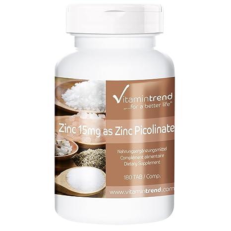 Zinc 15mg en forma de picolinato de zinc – 180 comprimidos para 6 MESES – vegano – alta dosificación – para piel y pelo sanos