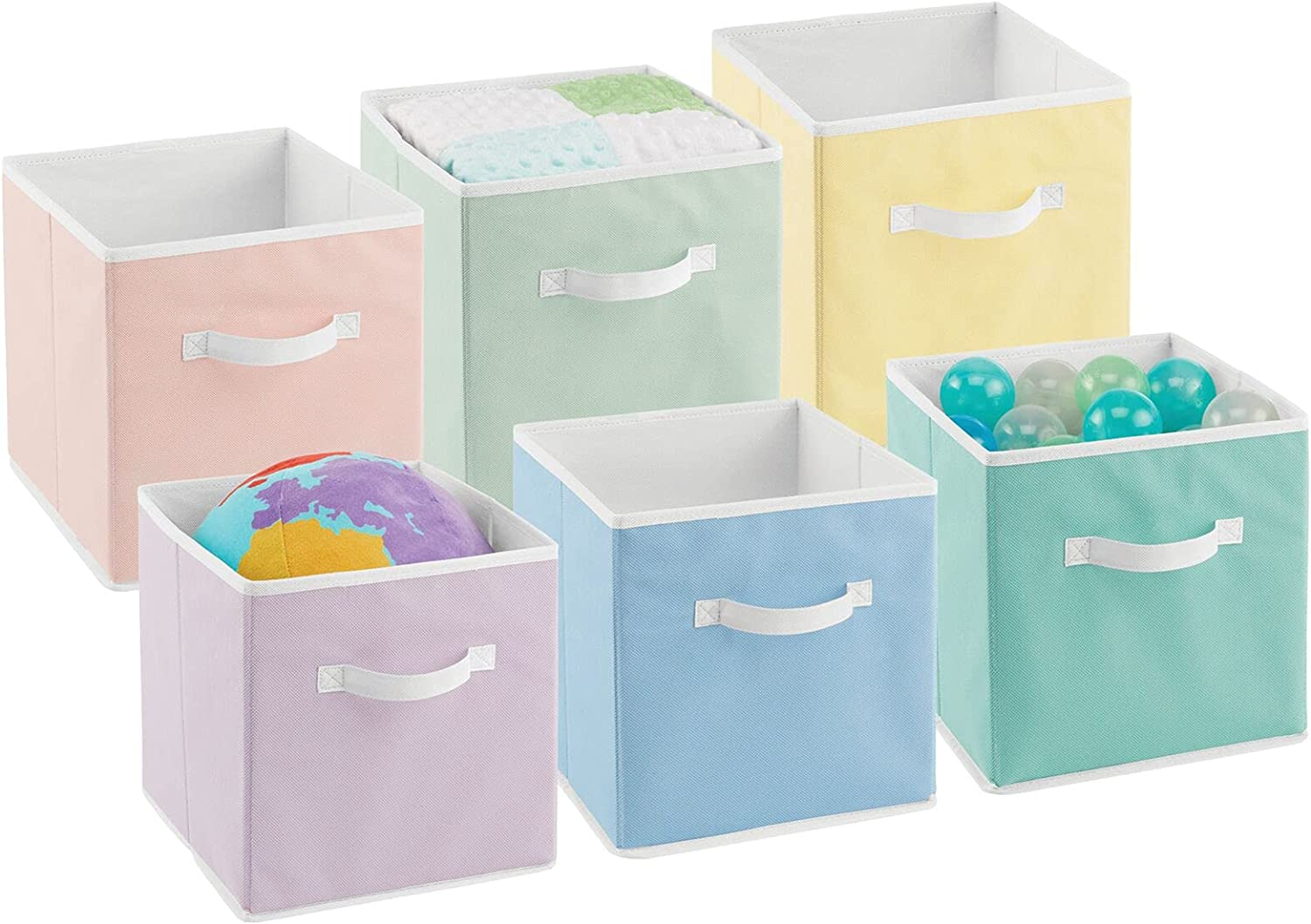 mDesign Soft Fabric Closet Storage Organizer Bin Box - Front Handle, for Cube Furniture Shelving Units Bedroom, Nursery, Toy Room - Textured Print - Small, 6 Pack - Bright Multicolored