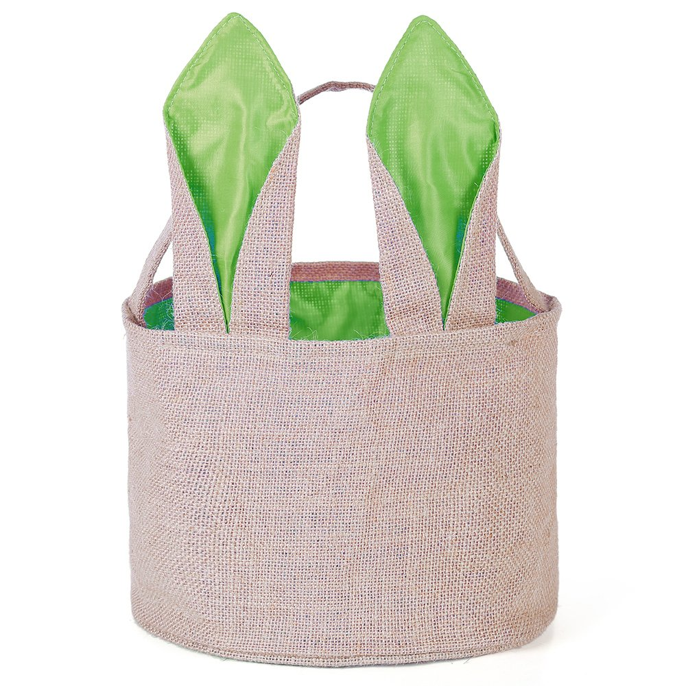 Easter Egg Basket For Kids Bunny Burlap Bag To Carry Eggs Candy And Gifts Green