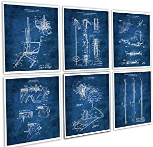 Skiing Home Decor Set of 6 Unframed Skiing Wall Art Prints in Blue Patents_Ski_Blue6A