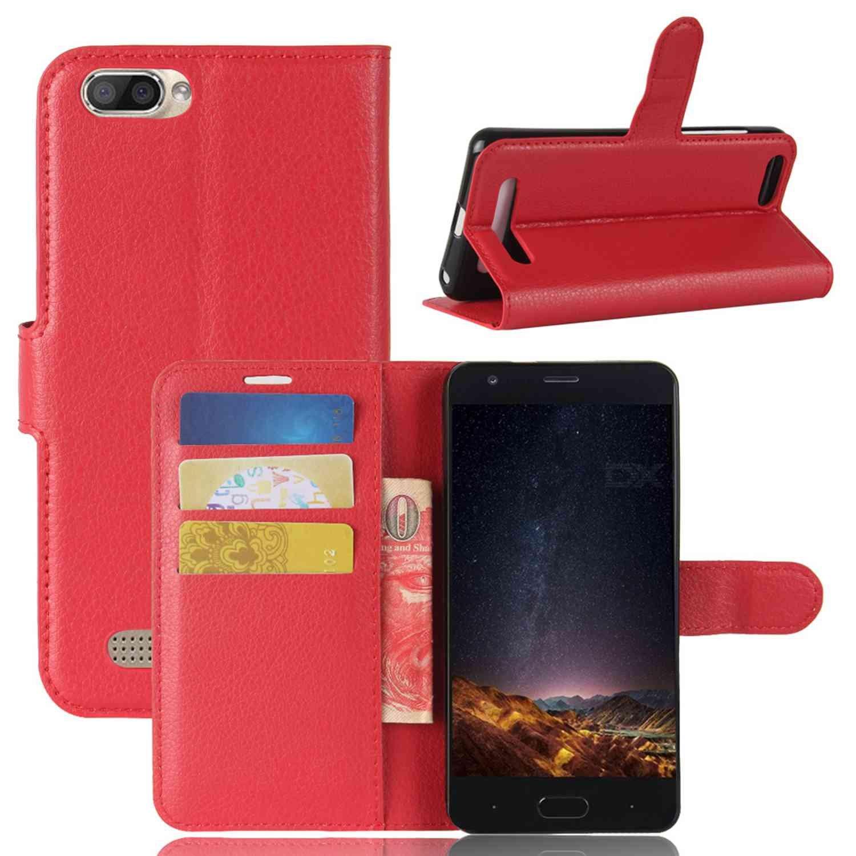 Guran® Funda de Cuero PU Para Doogee X20 / X20L Smartphone Función de Soporte con Ranura para Tarjetas Flip Case Cover Caso-rojo Doogee X20 / X20L-4