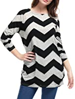Allegra K Women's Chevron Pattern Knitted Long Sleeves Relax Fit Tunic Tops