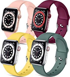 Muranne 4 Pack Bands Compatible with Apple Watch 40mm 38mm iWatch SE & Series 6 5 4 3 2 1 for Women Men, Soft Silicone Durable Sport Replacement Strap, Yellow Pink Pine Green Wine Red, M/L