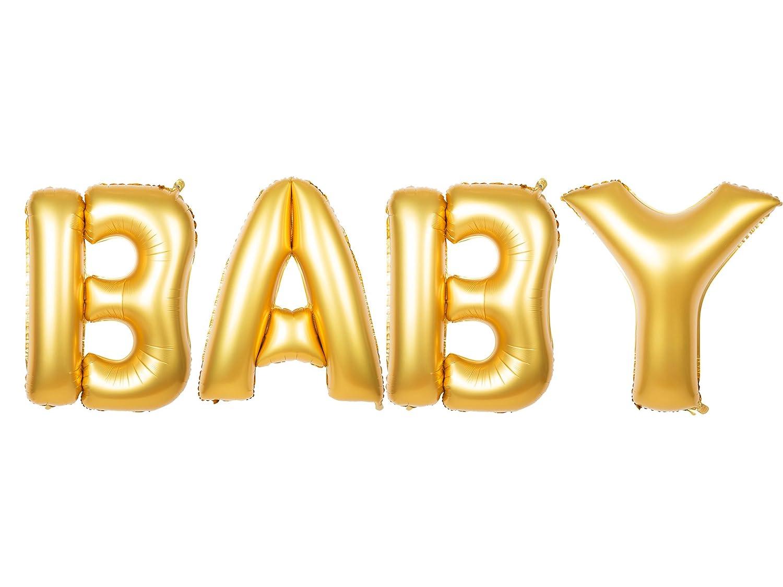 Amazon.com: Cute Gold Alphabet Letters Balloons BABY Decoration ...