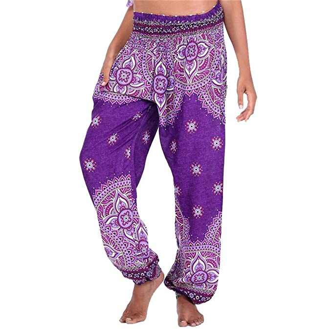 Pervobs Women Thai Harem Trousers Fashion Boho Print High ...