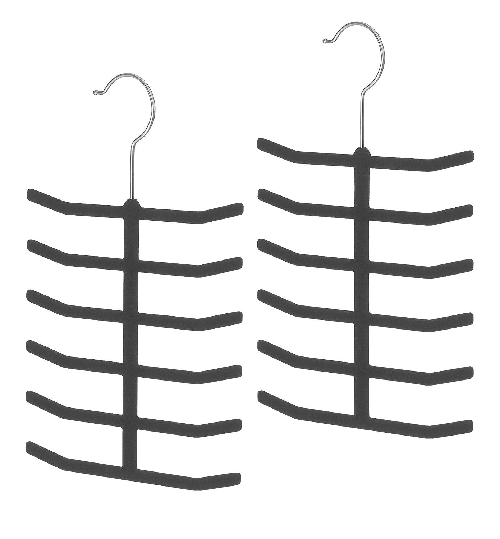 Whitmor 6478-2399-2-BLK Flocked Spacemaker Collection Tie Hangers, Set of 2, Black