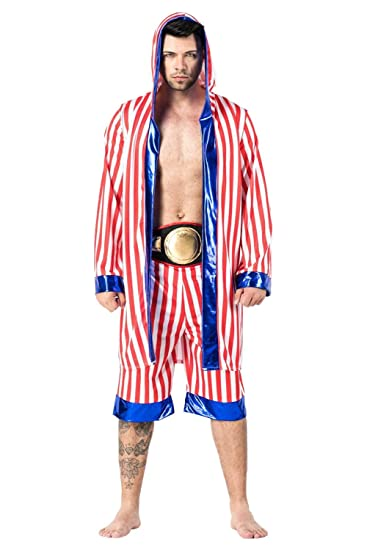 801dfe37233 mucloth Men s American Flag Boxing Costume Boxer Robe Hooded Pugilist  Uniform Halloween Outfit (One Size