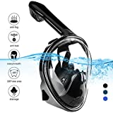 Naedw Full Face Snorkel Mask 180° Panoramic View Diving Scuba Mask Easy breath with Anti-Fog and Anti-Leak with Adjustable Head Straps Design for Adults,Youth,kids