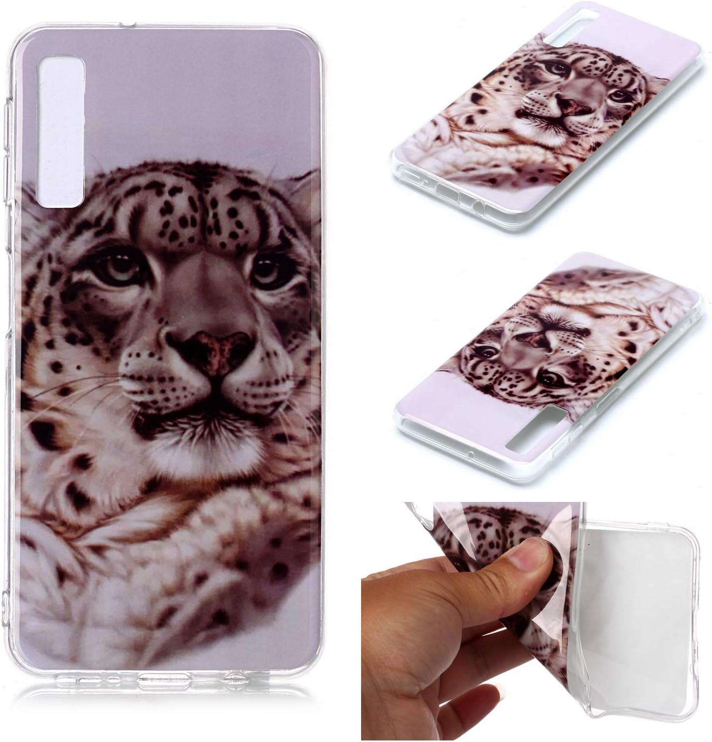 WIWJ Kompatibel mit Samsung Galaxy A7 2018 H/ülle Crystal Wei/ß Transparent Panzerglas Handyh/ülle Ultra Thin Clear TPU Silikon Schutzh/ülle 360 Sto/ßfest Tasche Handy Case-Tiger