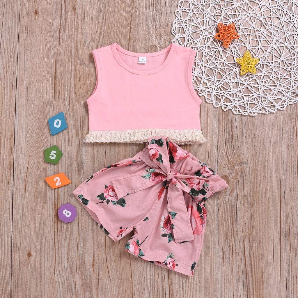 Cwemimifa 2 St/ücke S/äugling /Ärmelloses Quaste Weste Tops Floral Bow Shorts Kleidung Set Baby Jungen M/ädchen Outfit Set