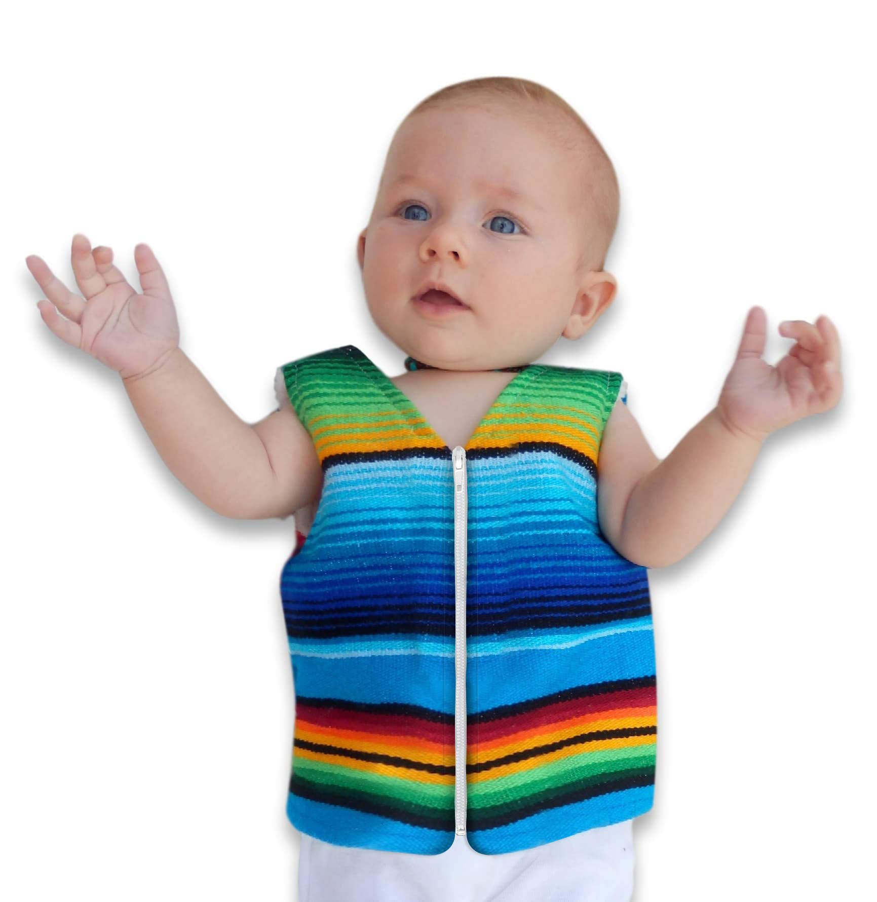 Handmade Baby Vest From Mexican Serape Blanket - Baby Shower Gifts For Boy or Girl - Newborn Baby Clothes (1 Year, Blue) by Baja Ponchos