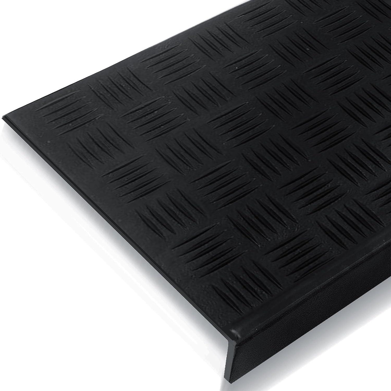 Lot de 5 tapis descalier en caoutchouc Dimensions au choix noir Antid/érapants Avec bord inclin/é Utilisables en ext/érieur ou en int/érieur Plusieurs designs disponibles