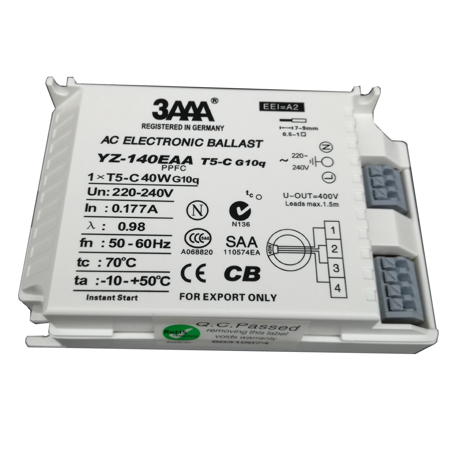 3AAA YZ140EAA-T5-C 40W AC Fluorecent Lamp Electronic Ballast For T5 Ring Lamp Standard Rectifiers, White Color Shenzhen DERUIFENG Lighting Co. ltd